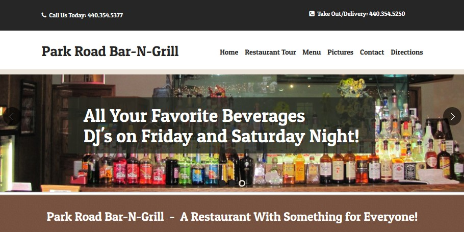 Park Road Bar-N-Grill Custom Website Design